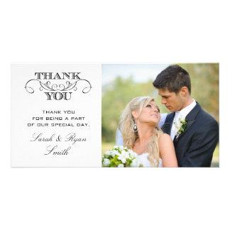 Modern Black & White Wedding Photo Thank You Cards