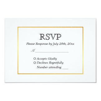 Modern Black & White with Gold border WEDDING RSVP Card