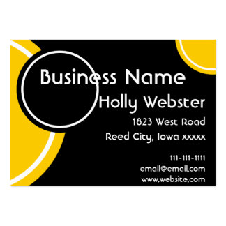 Modern Black With Circles in Black and Gold Business Cards