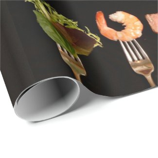 Modern Black with Food on Silver Forks Wrapping Paper
