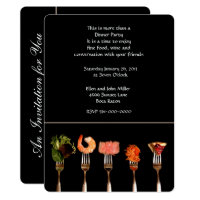 Modern Black with Forks Dinner Invitation