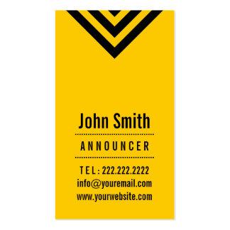 Modern Black & Yellow Announcer Business Card