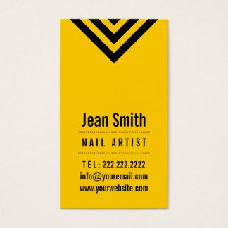 Modern Black & Yellow Nail Art Business Card