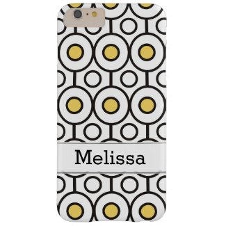 Modern Black Yellow Polka Dots Pattern Custom Name