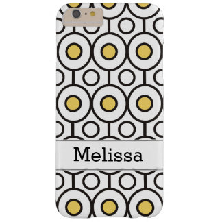 Modern Black Yellow Polka Dots Pattern Custom Name Barely There iPhone 6 Plus Case