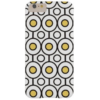 Modern Black Yellow Polka Dots Pattern on White