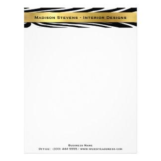 Modern Black Zebra Print with Gold Letterhead