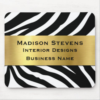 Modern Black Zebra Print with Gold Mouse Pad