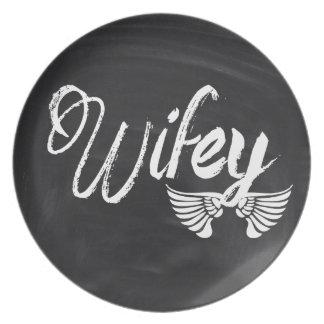modern blackboard scripts honeymoon wifey dinner plate