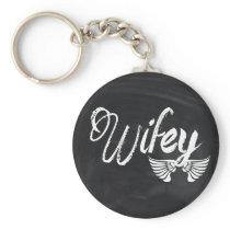 modern blackboard scripts honeymoon wifey keychain