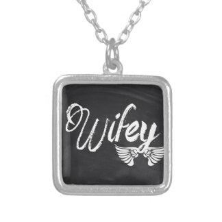 modern blackboard scripts honeymoon wifey personalized necklace