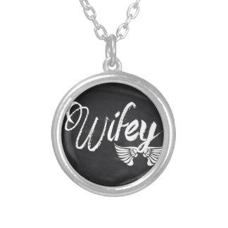 modern blackboard scripts honeymoon wifey silver plated necklace