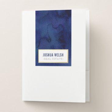 Beach Themed MODERN BLOCK LOGO masculine dark blue watercolor Pocket Folder