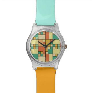 Modern block pattern muted summer wrist watch