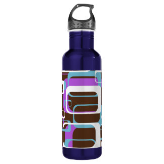 Modern Block Pattern With Brown and Purple Stainless Steel Water Bottle