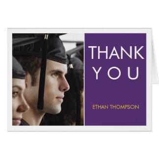 Modern Block Photo Grad Thank You Purple White Greeting Cards