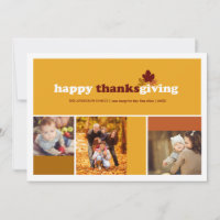 Modern Blocks Fall Leaves Thanksgiving Photo Card