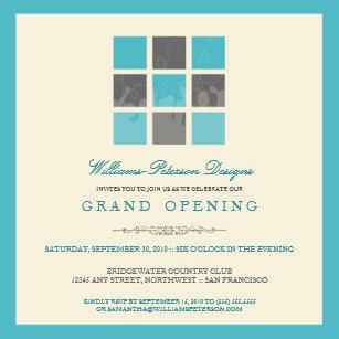 Grand openings invitations zazzle modern blocks grand opening invitation aqua stopboris Choice Image