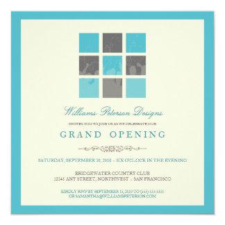 Modern Blocks Grand Opening Invitation (aqua)