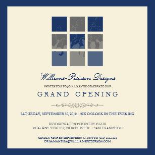 Grand openings invitations zazzle modern blocks grand opening invitation blue stopboris Images