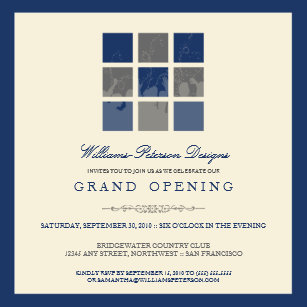 Grand openings invitations zazzle modern blocks grand opening invitation blue stopboris Choice Image
