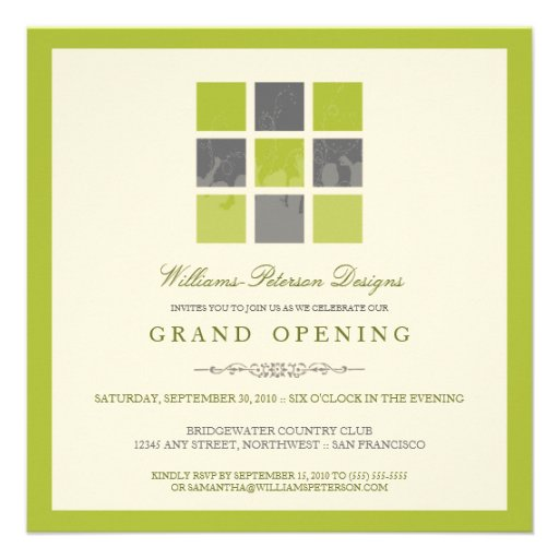modern blocks grand opening invitation lime square invitation card zazzle. Black Bedroom Furniture Sets. Home Design Ideas