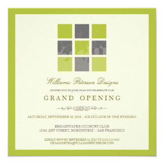 Modern Blocks Grand Opening Invitation (lime)