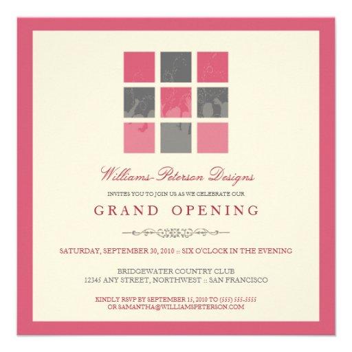 "Modern Blocks Grand Opening Invitation (pink) 5.25"" Square ..."