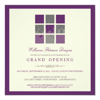Grand openings invitations zazzle modern blocks grand opening invitation purple stopboris