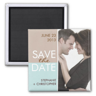 Modern Blocks Save the Date Brown & Teal 2 Inch Square Magnet