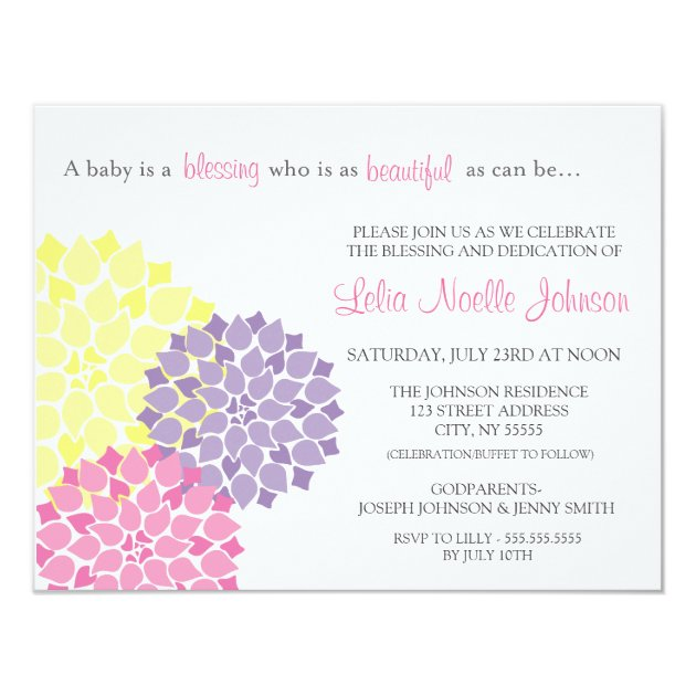Modern Bloom Baby Dedication Blessing Invitation | Zazzle