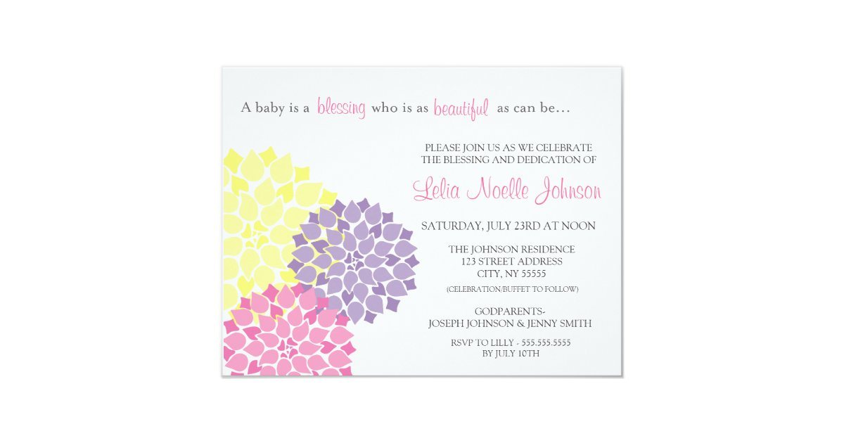 Modern Bloom Baby Dedication Blessing Invitation Zazzle Com