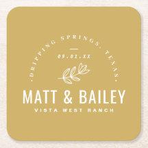 Modern Bloom Wedding Monogram   Mustard Yellow Square Paper Coaster