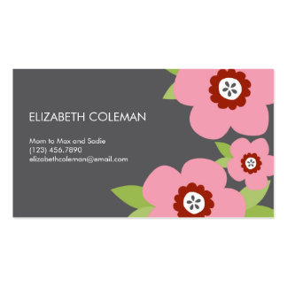 Modern Blooms Mommy Card / Calling Card Double-Sided Standard Business Cards (Pack Of 100)