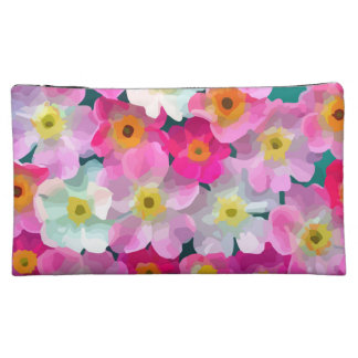Modern Blossoms - Pink Magenta Yellow White Flower Cosmetic Bag