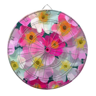 Modern Blossoms - Pink Magenta Yellow White Flower Dartboards
