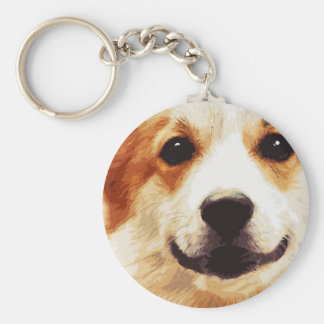 modern blown Welsh Corgi Keychain