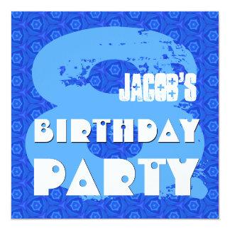 Modern BLUE 8th Birthday Party 8 Year Old V11B Card