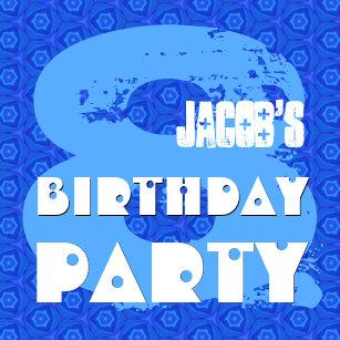 Modern BLUE 8th Birthday Party 8 Year Old V11B Invitation