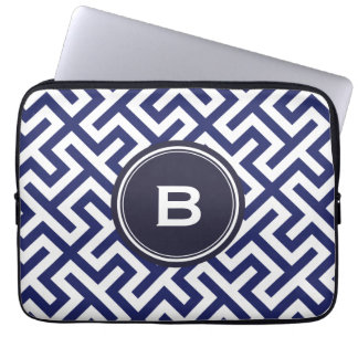 Modern blue abstract geometric patterns monogram computer sleeve