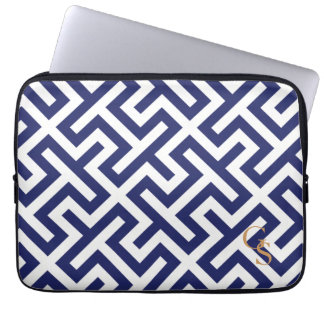Modern blue abstract geometric patterns monogram laptop sleeves
