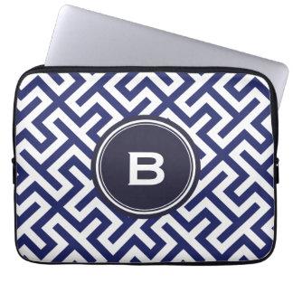 Modern blue abstract geometric patterns monogram computer sleeve