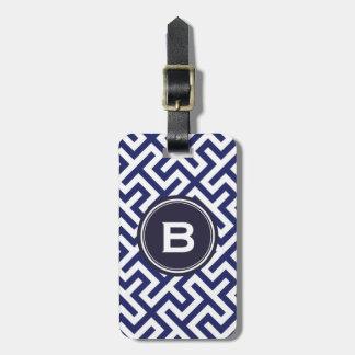 Modern blue abstract geometric patterns monogram luggage tag