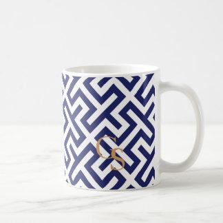 Modern blue abstract geometric patterns monogram mugs
