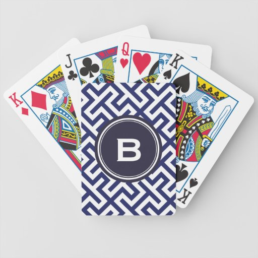 Modern blue abstract geometric patterns monogram bicycle playing cards