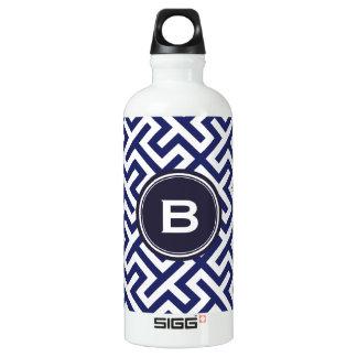Modern blue abstract geometric patterns monogram SIGG traveler 0.6L water bottle