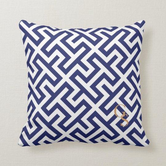 Modern blue abstract geometric patterns monogram throw pillow