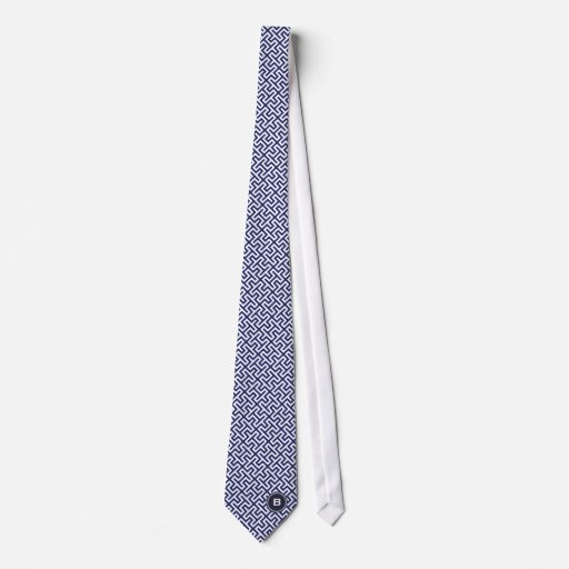 Modern blue abstract geometric patterns monogram tie