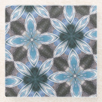 modern blue abstract pattern glass coaster
