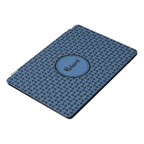 Modern blue and black diamond weave iPad pro cover